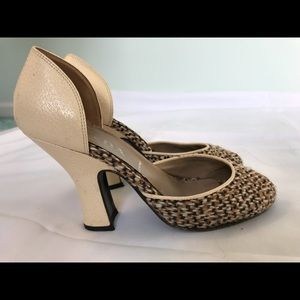 Prada Vintage Peep Toe Tweed Knit Heels